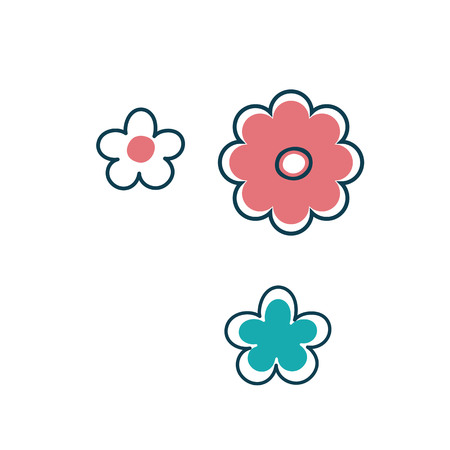 Three isolated stylized flowers in Scandinavian style