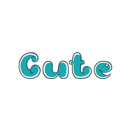 Cute. Hand lettering cartoon bubble letters lettering for printing on shirts 向量圖像