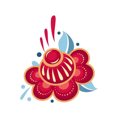 Russian Moscow Slavic ethnic ornament. Flower in folk style