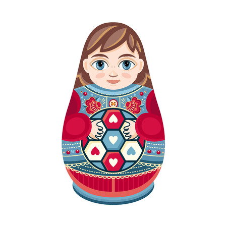Matryoshka. Russian souvenir. Soccer balls for children. Football. Boy