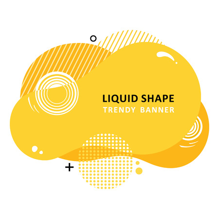 Mosaic amoeba design. Trendy fractal design. Multi color trendy concept.  Circle Bubble Wavy banner. Modern vector template. Memphis Liquid shape. Template for the design of a logo, flyer or presentation.