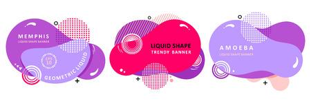 Set Cartoon origami. Plasma concept. Mosaic amoeba design. Trendy fractal design. Multi color trendy concept.  Circle Bubble Wavy banner. Modern vector template. Memphis Liquid shape. Template for the design of a logo, flyer or presentation. 向量圖像