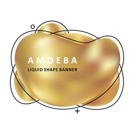 Gold amoeba design. Trendy fractal design. Multi color trendy concept.  Circle Bubble Wavy banner. Modern vector template. Memphis Liquid shape. Template for the design of a logo, flyer or presentation.
