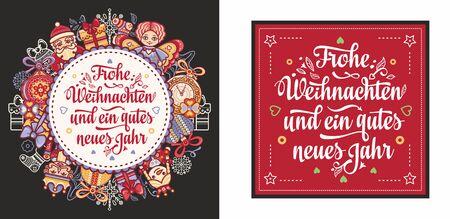German text Frohe Weihnachten and Neues Jahr. Christmas typography.Christmas in Belgium, Austria, Liechtenstein, Switzerland.Happy Christmas in Deutschland.Xmas greeting card Weihnachtskarte.Neujahr