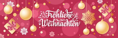 German text Frohe Weihnachten. Horizontal header Christmas Top view Flat lay banner poster.Christmas typography.Happy Christmas in Deutschland.Xmas greeting card Weihnachtskarte.German Xmas 版權商用圖片 - 130229223