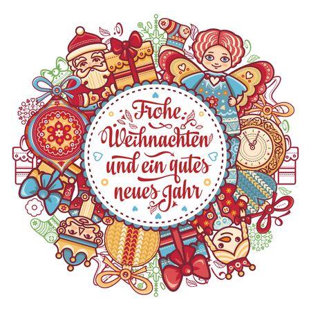 Frohe Weihnachten.German Xmas. typography letter.Christmas in Belgium, Austria, Liechtenstein, Switzerland.Happy Christmas in Deutschland.Neues Jahr.Deutsche Weihnachten.Weihnachtskarte.Prosit Neujahr 版權商用圖片 - 130229424