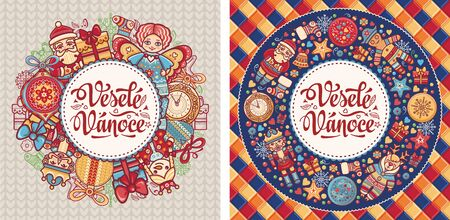 Vesele Vanoce. Czech text Happy Christmas. Template for greeting card. English translation - Happy Christmas and Happy New Year 版權商用圖片 - 130229427