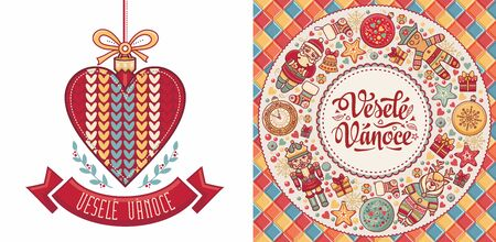 Vesele Vanoce. Czech text Happy Christmas. Template for greeting card. English translation - Happy Christmas and Happy New Year 版權商用圖片 - 130229428