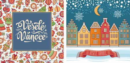 Vesele Vanoce. Czech text Happy Christmas. Template for greeting card. English translation - Happy Christmas and Happy New Year 版權商用圖片 - 130229434