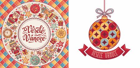 Vesele Vanoce. Czech text Happy Christmas. Template for greeting card. English translation - Happy Christmas and Happy New Year