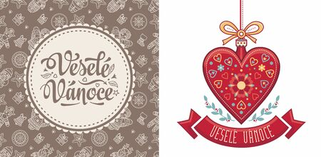 Vesele Vanoce. Czech text Happy Christmas. Template for greeting card. English translation - Happy Christmas and Happy New Year 版權商用圖片 - 130229438