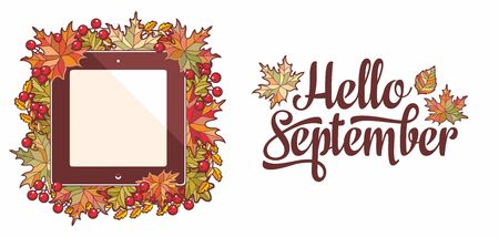 Hello September lettering phrase text.Autumn leaves frame with Rowan, maple, birch and oak.Autumn quote. Fall leaf design.Foliage forest leaf vector. Red, Green, brown and yellow falling autumn leaves 版權商用圖片 - 130229591