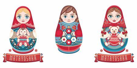 Russian nesting dolls Matryoshka. Babushka doll.Matryoshkas family vector.Russian doll. Matrioshka isolated. Matryoshka set family. Russian Matryoshka stacking dolls.Russian doll set isolated. Kokeshi