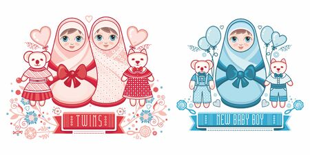 Cute card for babies. Delicate colors. Baby Shower greeting card with babies boy and girl. Matryoshka design. newborn baby greeting card 版權商用圖片 - 130229597
