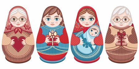 Russian nesting dolls Matryoshka. Babushka doll.Matryoshkas family vector.Russian doll. Matrioshka isolated. Matryoshka set family. Russian Matryoshka stacking dolls.Russian doll set isolated. Kokeshi Standard-Bild - 130229607