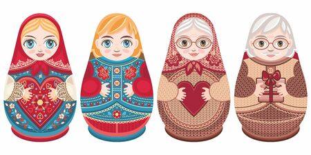 Russian nesting dolls Matryoshka. Babushka doll.Matryoshkas family vector.Russian doll. Matrioshka isolated. Matryoshka set family. Russian Matryoshka stacking dolls.Russian doll set isolated. Kokeshi