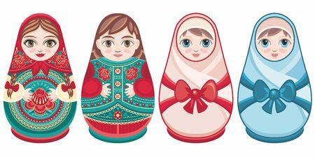 Russian nesting dolls Matryoshka. Babushka doll.Matryoshkas family vector.Russian doll. Matrioshka isolated. Matryoshka set family. Russian Matryoshka stacking dolls.Russian doll set isolated. Kokeshi Standard-Bild - 130229606