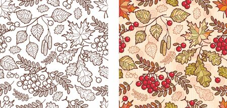 Autumn leaves seamless pattern with Rowan, maple, birch and oak. Fall leaf design.Foliage forest leaf vector. Red, Green, brown and yellow falling autumn leaves.Rowan, ash, mountain ash with ashberry. 版權商用圖片 - 130229610