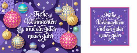 Christmas German.  Xmas. Weihnachten. Noel. Christmas in different languages. German Christmas Deutsche holiday Weihnachtsfest - Frohe Weihnachten, neue Jahr, Neujahrstag. 3d gold realistic  ball Standard-Bild - 130232843