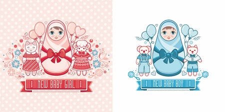 Cute card for babies. Delicate colors. Baby Shower greeting card with babies boy and girl. Matryoshka design. newborn baby greeting card 版權商用圖片 - 130232821
