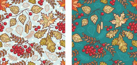 Autumn leaves seamless pattern with Rowan, maple, birch and oak. Fall leaf design.Foliage forest leaf vector. Red, Green, brown and yellow falling autumn leaves.Rowan, ash, mountain ash with ashberry. 版權商用圖片 - 130232912