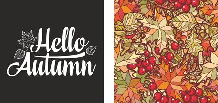 Hello Autumn lettering phrase text. Autumn leaves seamless pattern with Rowan, maple, birch and oak. Fall leaf design.Foliage forest leaf vector. Red, Green, brown and yellow falling autumn leaves 版權商用圖片 - 130232944