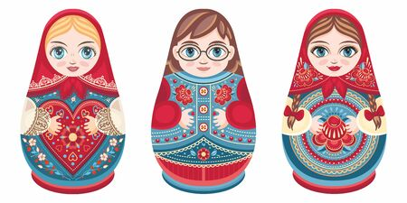 Russian nesting dolls Matryoshka. Babushka doll.Matryoshkas family vector.Russian doll. Matrioshka isolated. Matryoshka set family. Russian Matryoshka stacking dolls.Russian doll set isolated. Kokeshi Standard-Bild - 130232954