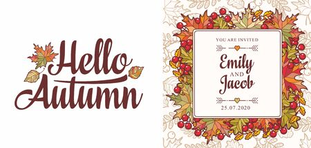 Hello Autumn lettering phrase text. Autumn leaves frame with Rowan, maple, birch and oak.Autumn quote. Fall leaf design. Foliage forest leaf vector. Red, Green, brown and yellow falling autumn leaves