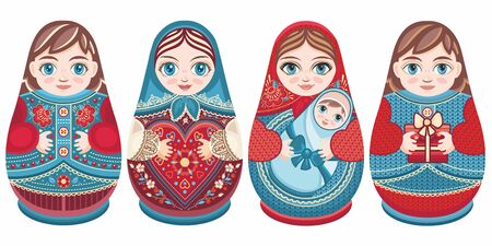 Russian nesting dolls Matryoshka. Babushka doll.Matryoshkas family vector.Russian doll. Matrioshka isolated. Matryoshka set family. Russian Matryoshka stacking dolls.Russian doll set isolated. Kokeshi Standard-Bild - 130237817
