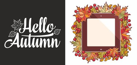 Hello Autumn lettering phrase text. Autumn leaves frame with Rowan, maple, birch and oak.Autumn quote. Fall leaf design. Foliage forest leaf vector. Red, Green, brown and yellow falling autumn leaves 版權商用圖片 - 130237814