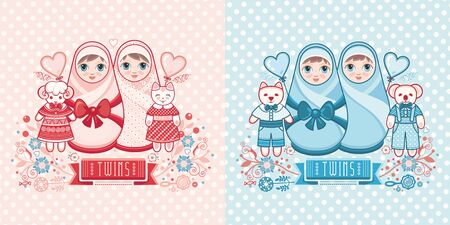 Cute card for babies. Delicate colors. Baby Shower greeting card with babies boy and girl. Matryoshka design. newborn baby greeting card