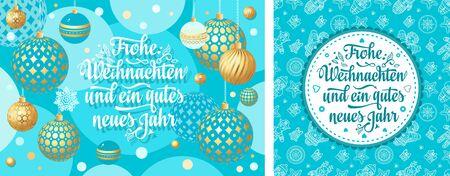 Christmas German.  Xmas. Weihnachten. Noel. Christmas in different languages. German Christmas Deutsche holiday Weihnachtsfest - Frohe Weihnachten, neue Jahr, Neujahrstag. 3d gold realistic  ball