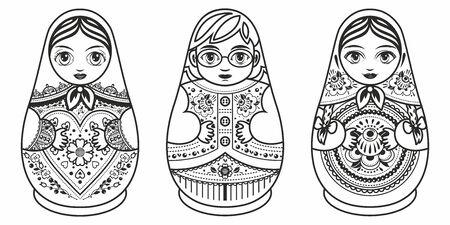Russian nesting dolls Matryoshka. Babushka doll.Matryoshkas family vector.Russian doll. Matrioshka isolated. Matryoshka set family. Russian Matryoshka stacking dolls.Russian doll set isolated. Kokeshi Standard-Bild - 130237813