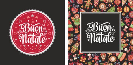 Christmas, Buon Natale, Noel, Navidad, Weihnachten - Christmas on different  languages. Buon Natale - Italian Christmas. Xmas poster. Xmas banner card. Christmas in Italy. Christmas lettering 矢量图像