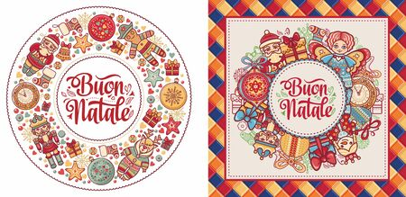 Christmas, Buon Natale, Noel, Navidad, Weihnachten - Christmas on different  languages. Buon Natale - Italian Christmas. Xmas poster. Xmas banner card. Christmas in Italy. Christmas lettering 版權商用圖片 - 130237851