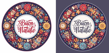 Christmas, Buon Natale, Noel, Navidad, Weihnachten - Christmas on different  languages. Buon Natale - Italian Christmas. Xmas poster. Xmas banner card. Christmas in Italy. Christmas lettering 向量圖像