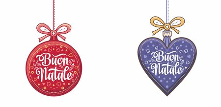 Christmas, Buon Natale, Noel, Navidad, Weihnachten - Christmas on different  languages. Buon Natale - Italian Christmas. Xmas poster. Xmas banner card. Christmas in Italy. Christmas lettering Illustration