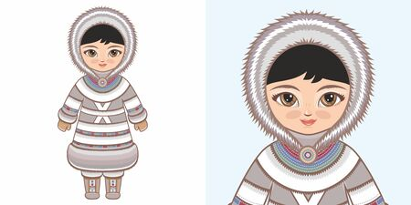 Eskimo Chukchi girl in national costume. Design 向量圖像