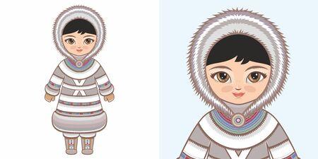 Eskimo Chukchi girl in national costume. Design Illustration