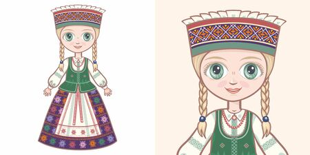 Lithuanian girl in national costume. Design