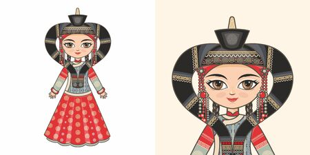 Buryat girl in national costume. Design 版權商用圖片 - 130237927