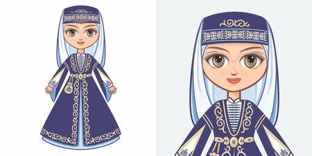 Chechen girl in national costume. Design Standard-Bild - 130241152