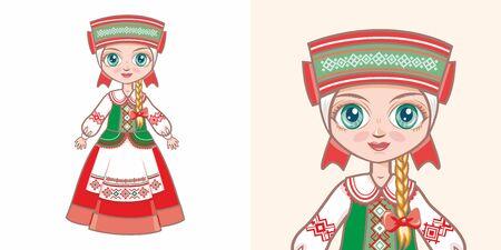 Fille biélorusse en costume national. Concevoir