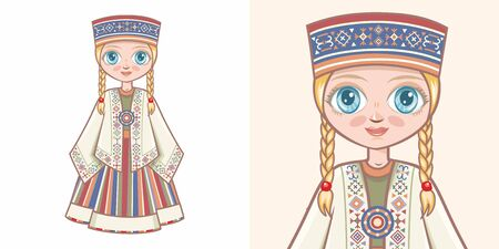 Latvian girl in national costume. Design Standard-Bild - 130241155