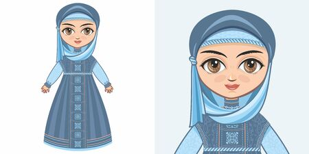 Girl in Muslim clothes. The veil and Abaya. Design
