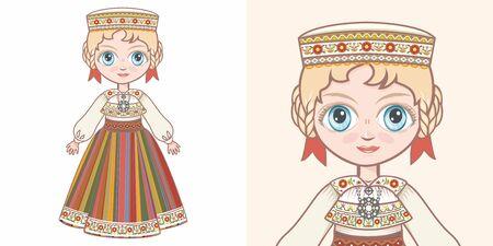 Estonian girl in national costume. Design