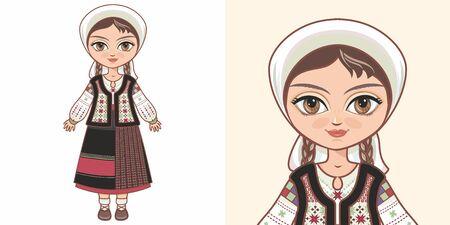Moldovan girl in national costume. Design Standard-Bild - 130241345