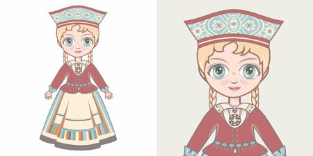 Estonian girl in national costume. Design 版權商用圖片 - 130241347