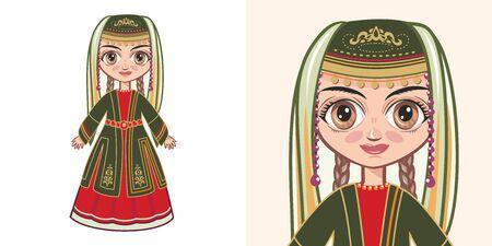Armenian girl in national costume. Design