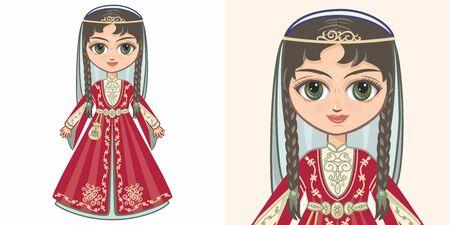 Chechen girl in national costume. Design